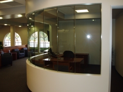 interior glazing at bank