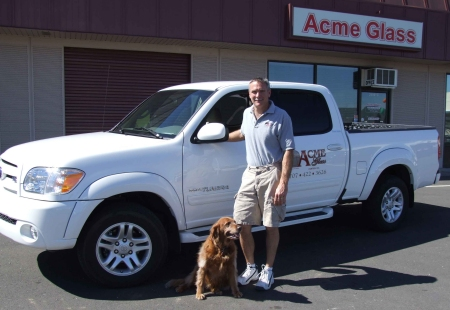 Owner in front of Acme Glass Company shop in Fairfield-Solano county 94534